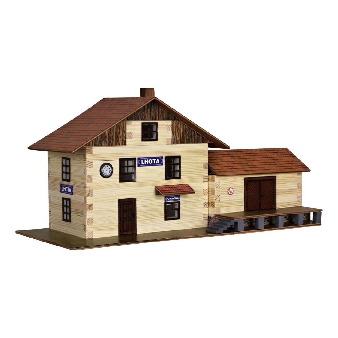 Walachia Dřevěná slepovací stavebnice Vlakové nádraží