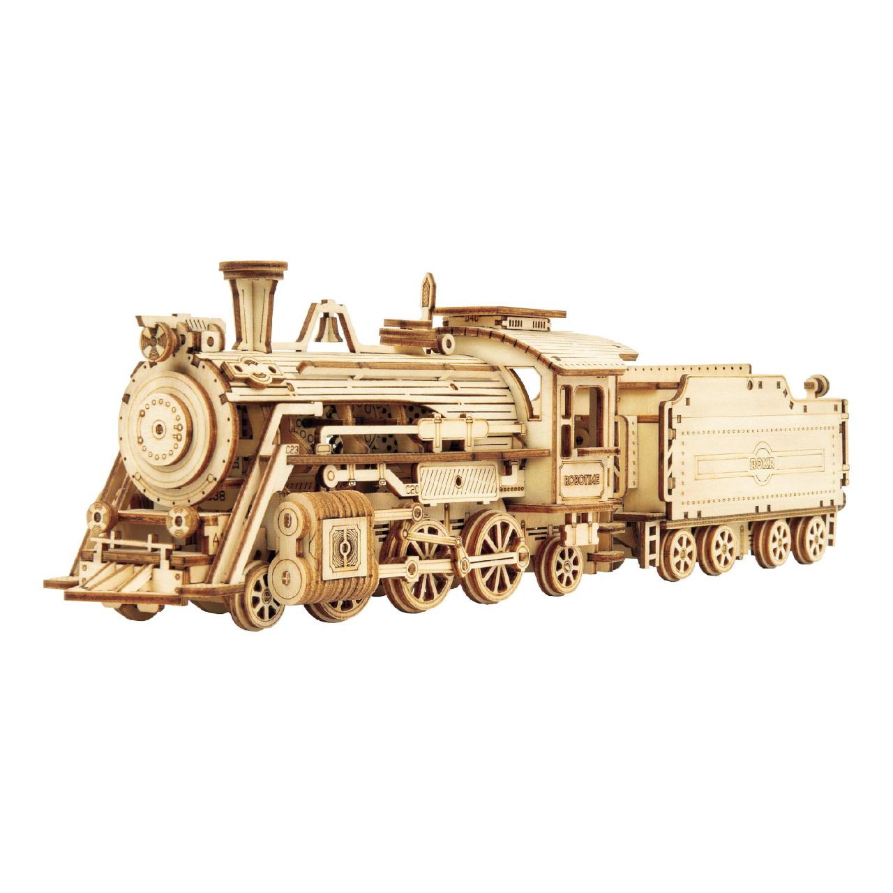 RoboTime dřevěné 3D puzzle Parní lokomotiva