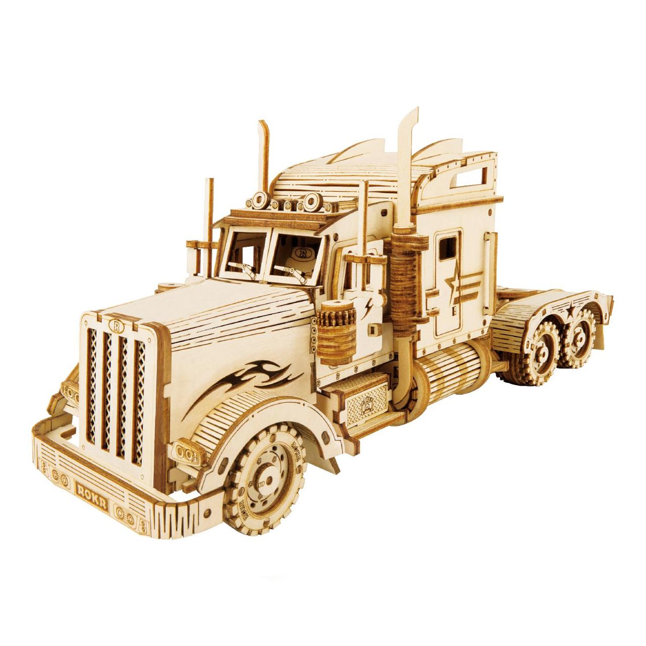 RoboTime dřevěné 3D puzzle Americký tahač