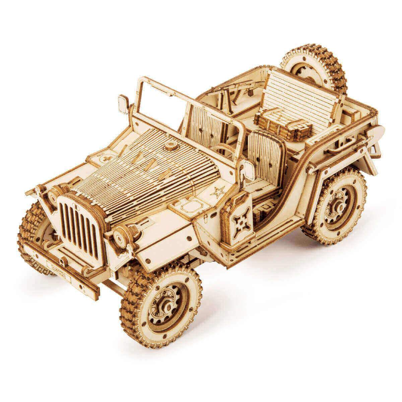 RoboTime dřevěné 3D puzzle Vojenský džíp