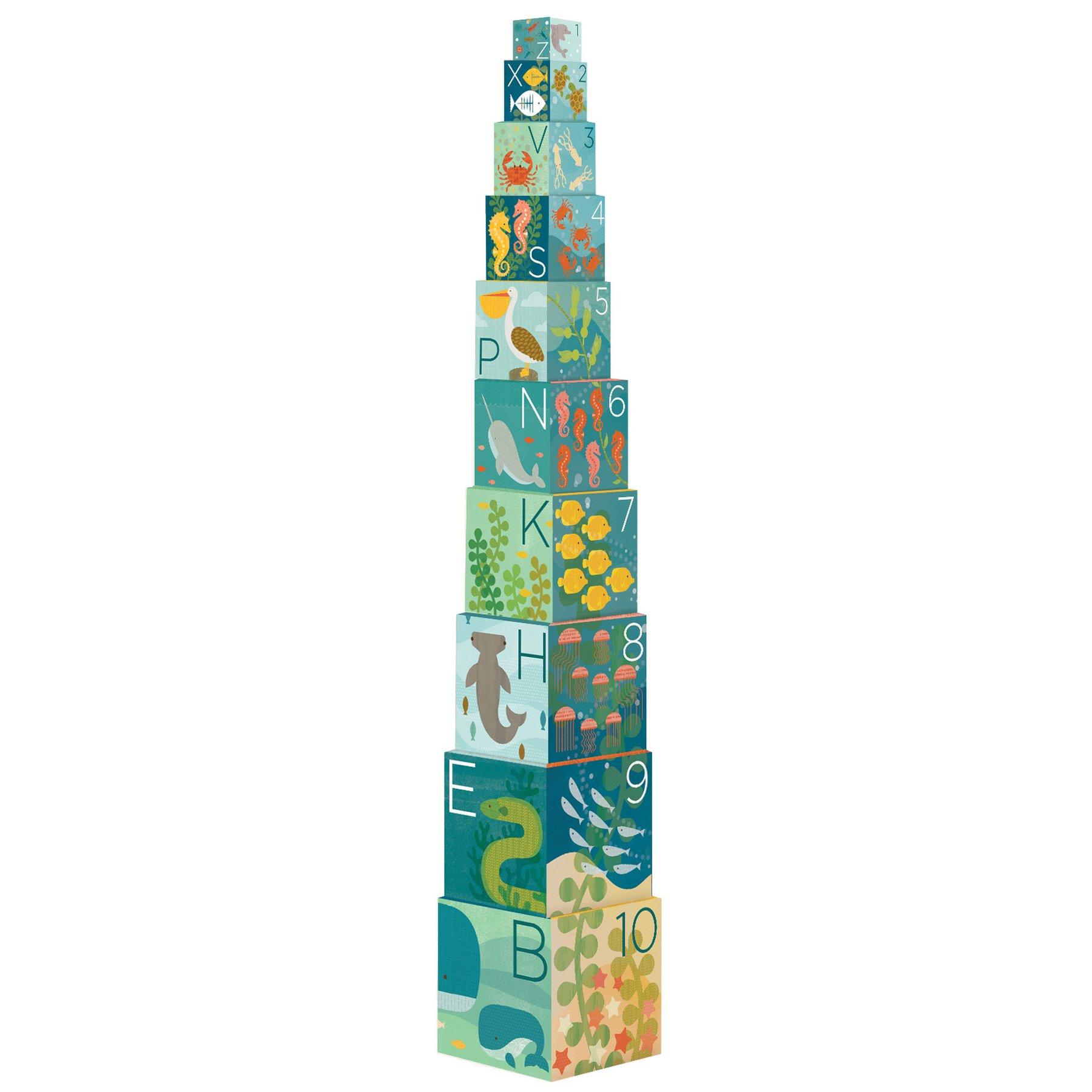 Petitcollage Věž z 1-2-3 kostek s možskými živočichy