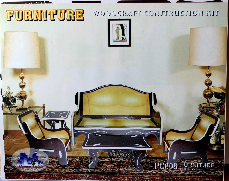 Woodcraft Dřevěné 3D puzzle obývací pokoj barevný