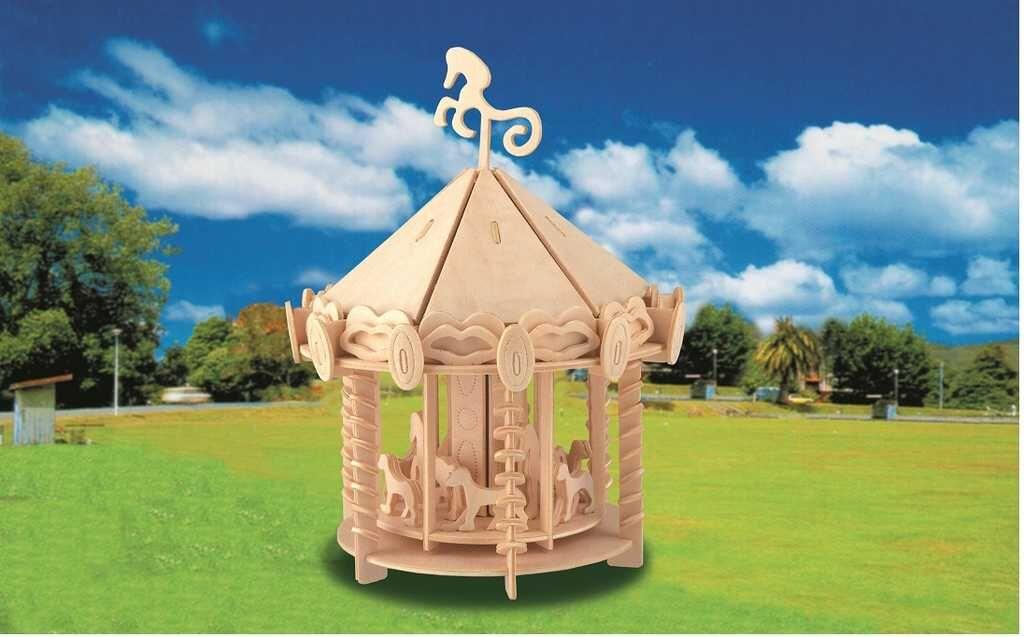 Dřevěné skládačky 3D puzzle - Kolotoč P082