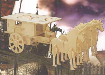 Woodcraft Dřevěné 3D puzzle Povoz