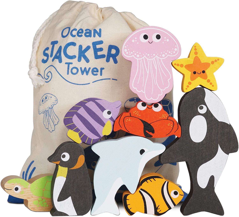 Le Toy Van Petilou Skládací věž Oceán 9 ks