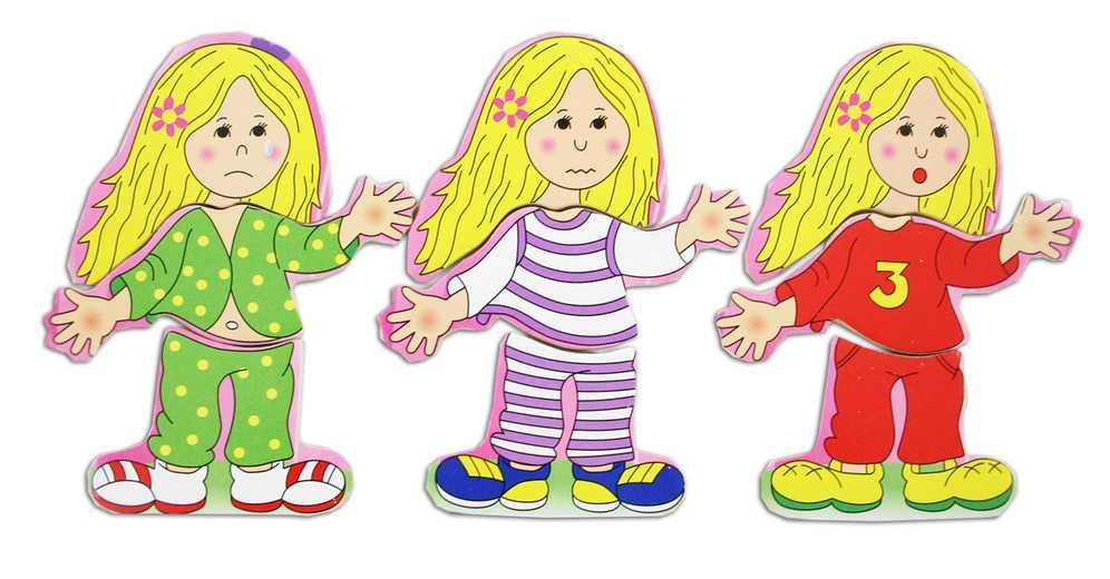 Vkládačka dřevěná oblečení - holka