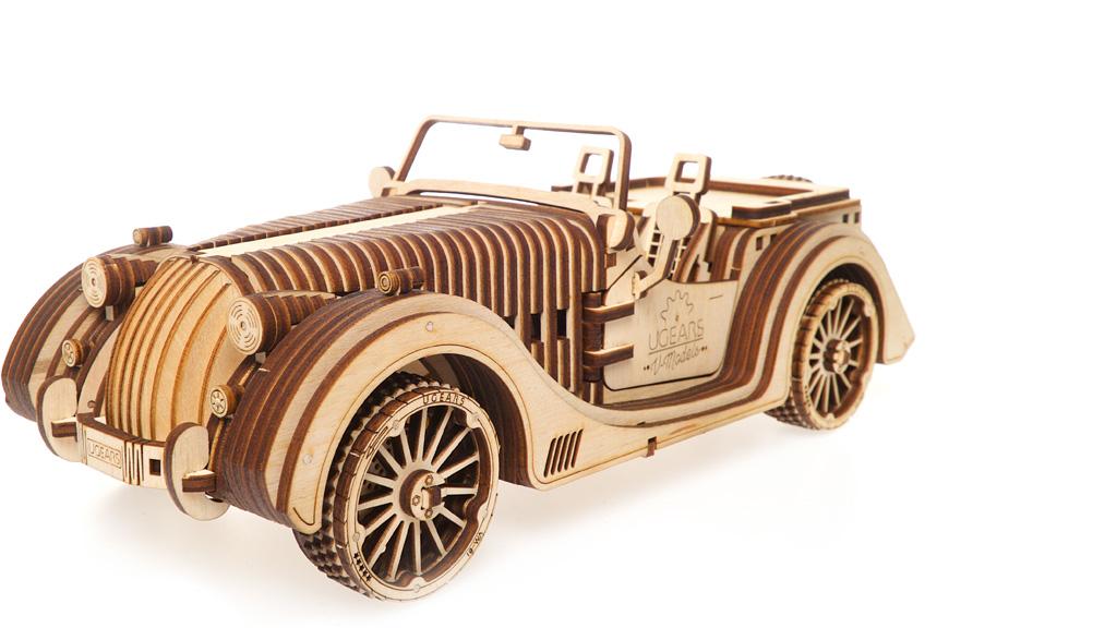Ugears 3D dřevěné mechanické puzzle Vůz Roadster VM-01