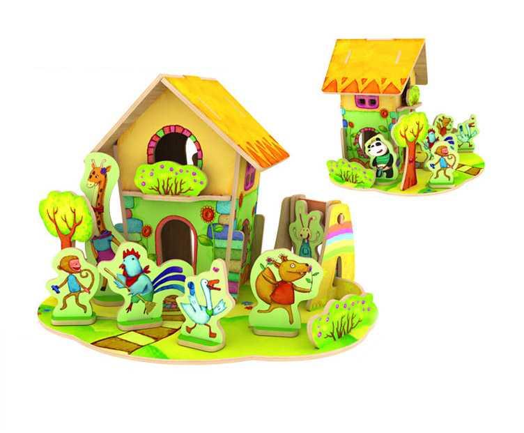 Dřevěné skládačky 3D puzzle - Domeček se zvířátky 2
