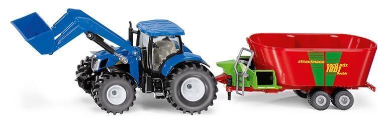 Siku Kovový model traktor New Holland s předním nakladačem a vlekem