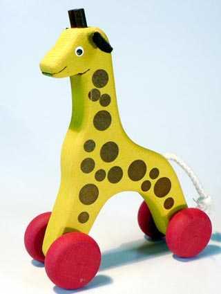 Dřevěné hračky - hračka na kolečkách - Žirafa