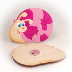 Dřevěné magnetky šnek