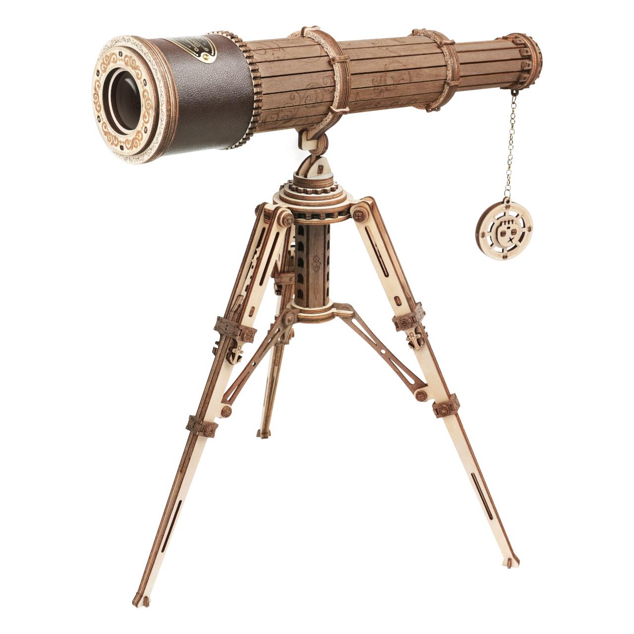 RoboTime 3D dřevěné mechanické puzzle Pirátský dalekohled