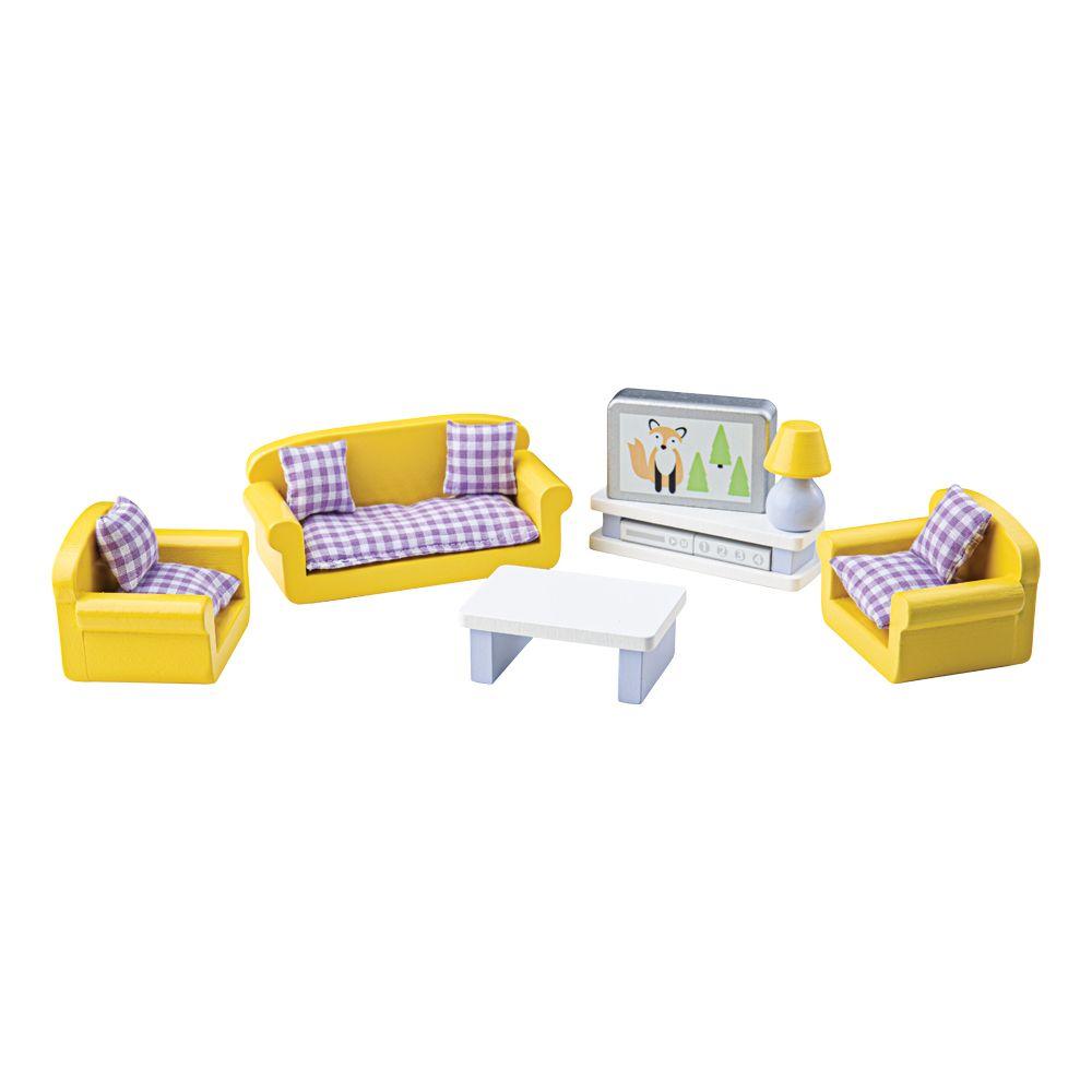 Tidlo Dřevěný nábytek obývací pokoj žlutý