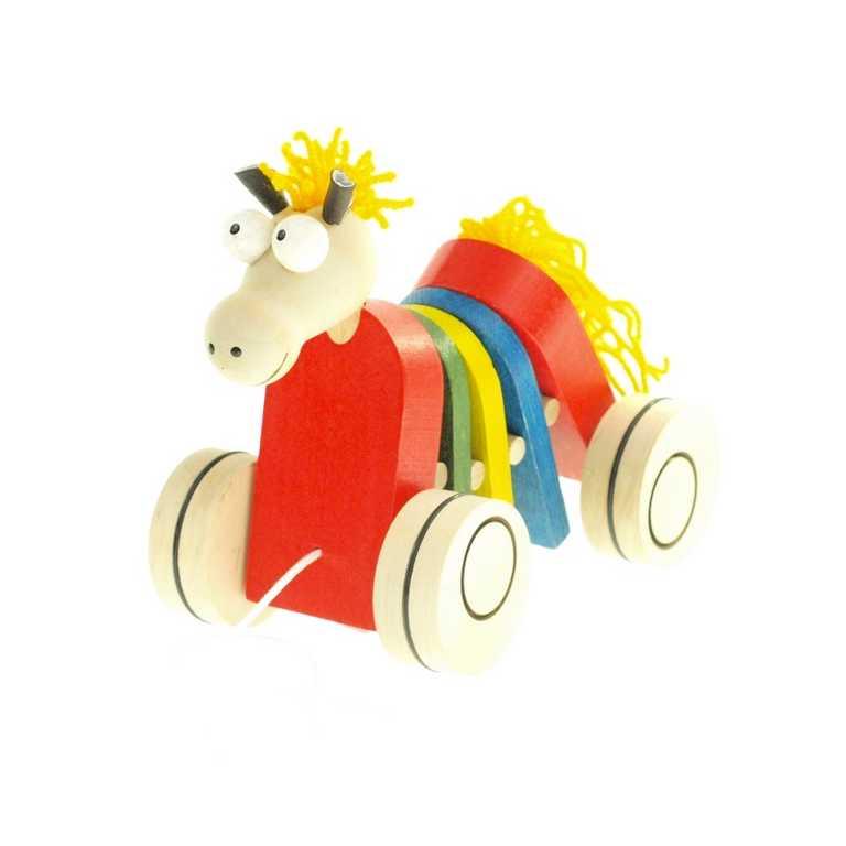 Dřevěná tahací hračka - Kůň klapací