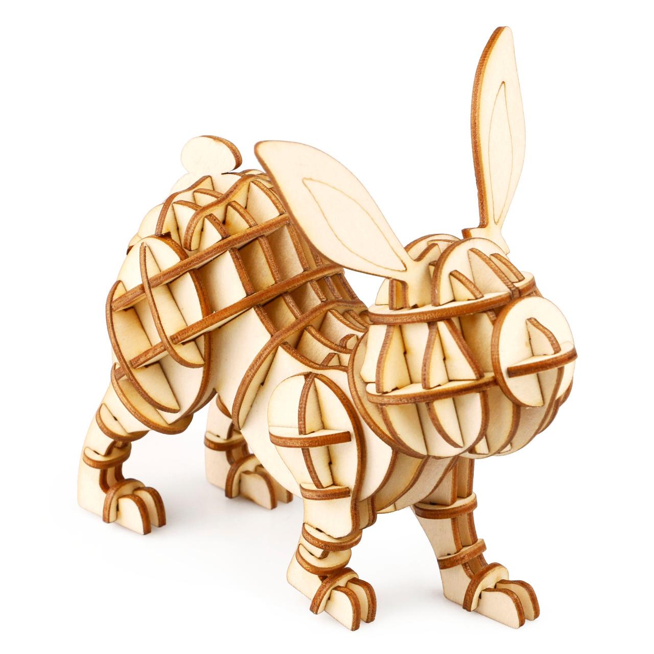 RoboTime dřevěné 3D puzzle Králík