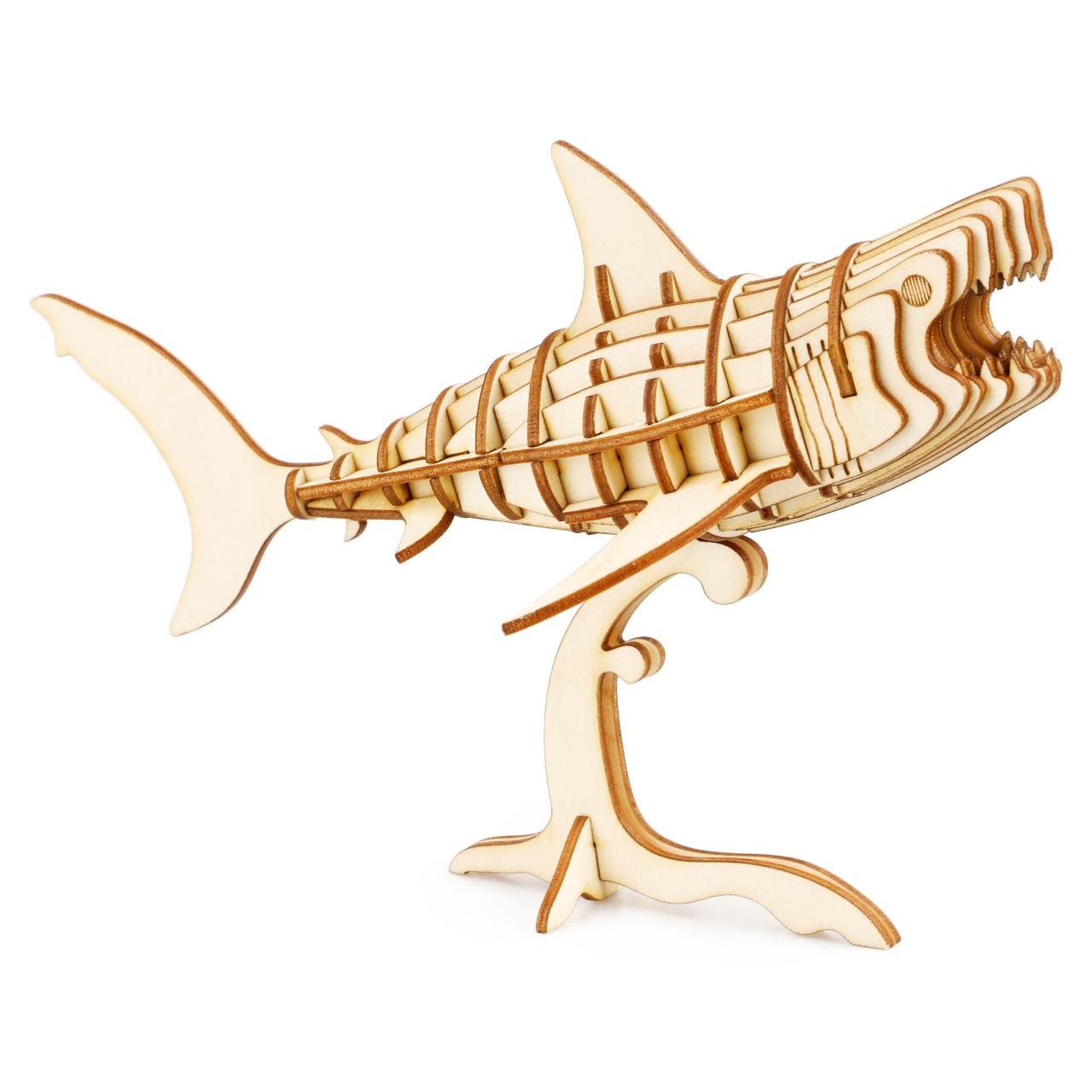 RoboTime dřevěné 3D puzzle Žralok