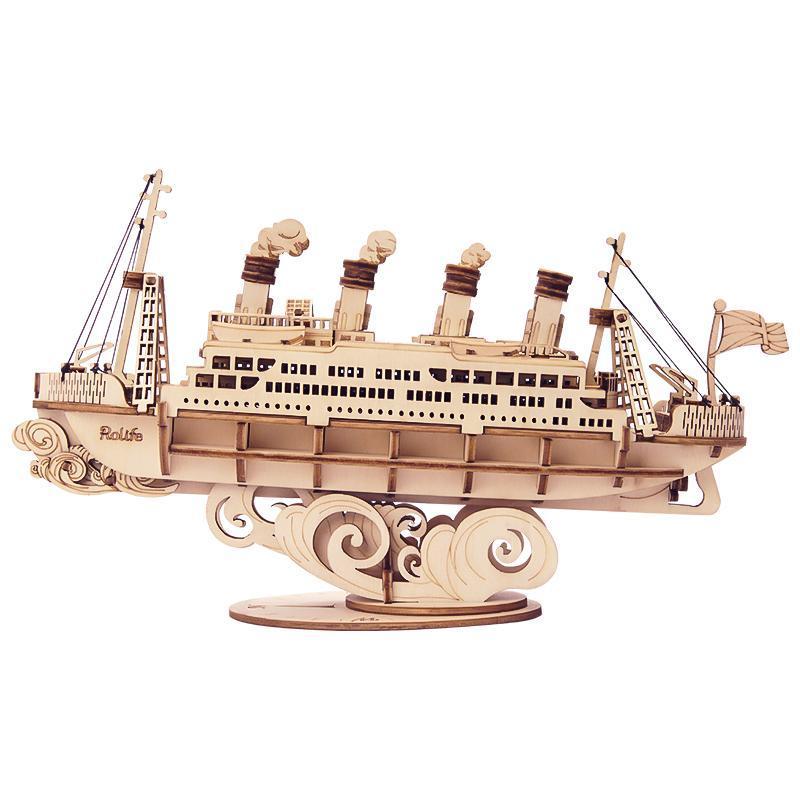 RoboTime dřevěné 3D puzzle Zaoceánský parník