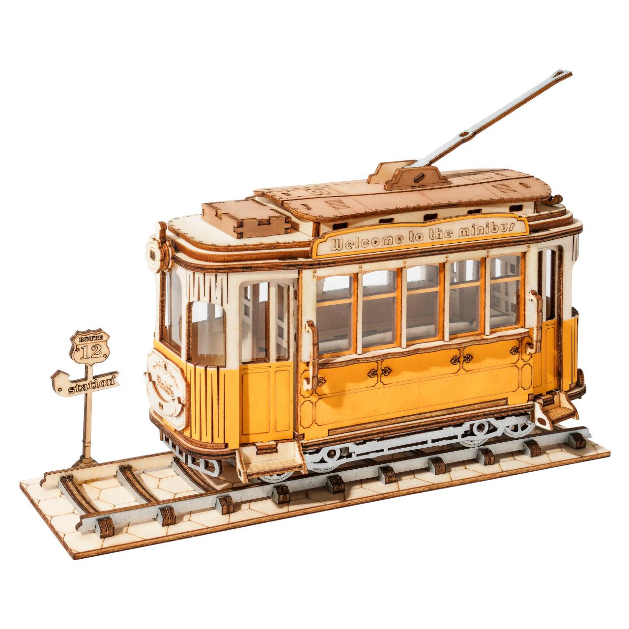 RoboTime dřevěné 3D puzzle Historická tramvaj