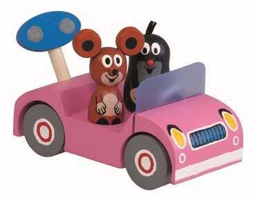 Detoa Dřevěné auto růžové - Krtek na výletě