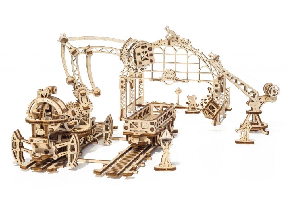 Ugears 3D dřevěné mechanické puzzle Železniční jeřáb - Manipulátor