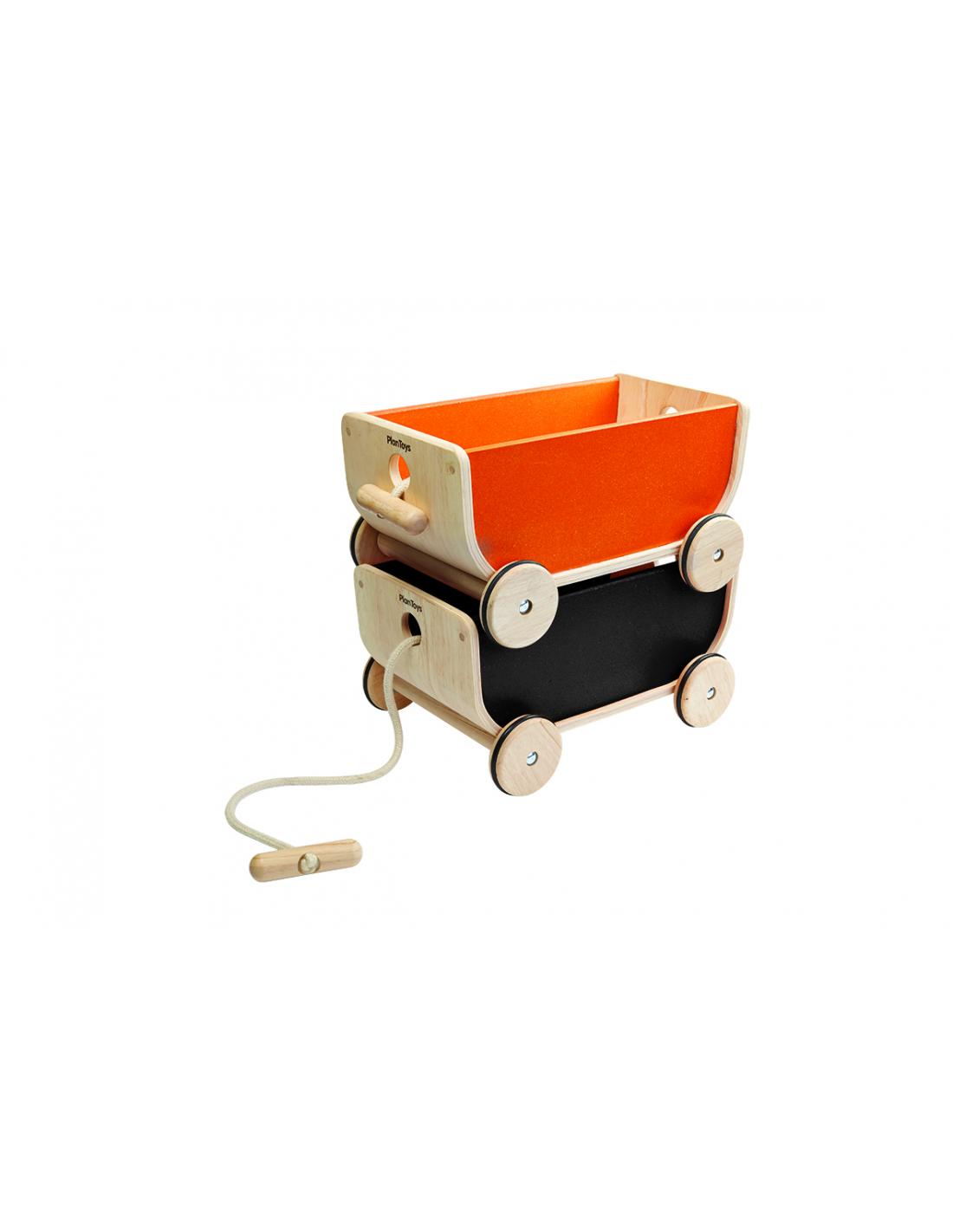 PlanToys Dřevěný vozík černý