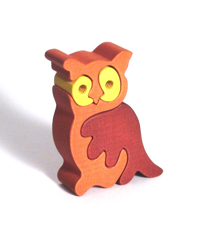 Fauna Dřevěné vkládací puzzle z masivu sova malá