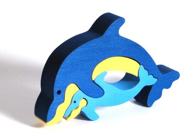 Fauna Dřevěné vkládací puzzle z masivu delfÍnci