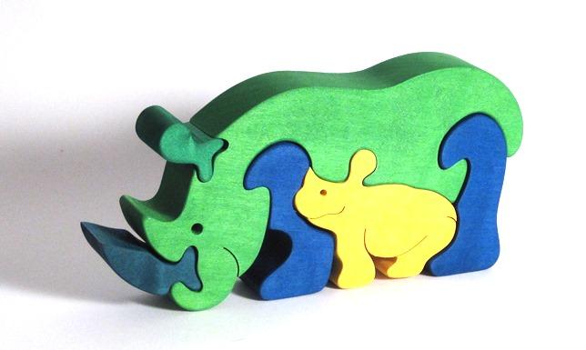 Fauna Dřevěné vkládací puzzle z masivu nosorožec