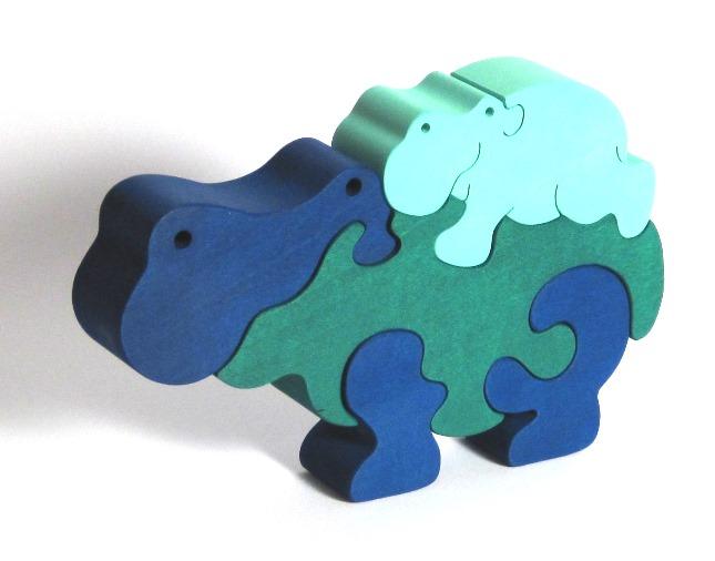 Fauna Dřevěné vkládací puzzle z masivu hroch modrý