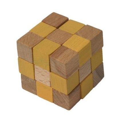 Dřevěný hlavolam kostka žlutá