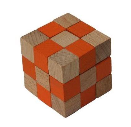Dřevěný hlavolam kostka oranžová