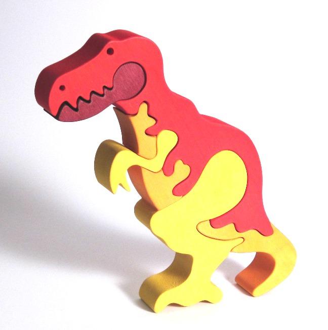 Fauna Dřevěné vkládací puzzle z masivu T rex
