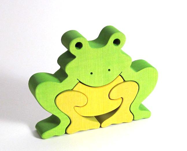 Fauna Dřevěné vkládací puzzle z masivu velká žába