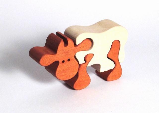 Fauna Dřevěné vkládací puzzle z masivu kráva hnědá