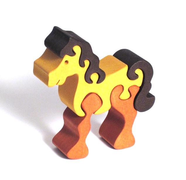 Fauna Dřevěné vkládací puzzle z masivu malý kůň hnědý