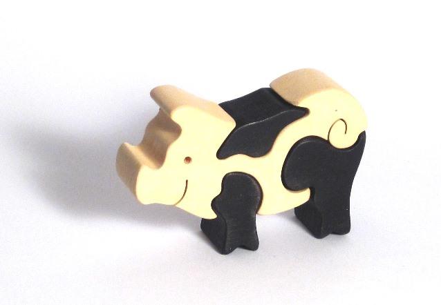 Fauna Dřevěné vkládací puzzle z masivu malé prasátko