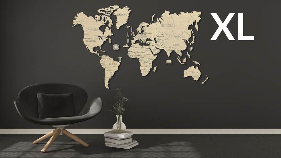 Wooden City 3D puzzle - Mapa světa XL